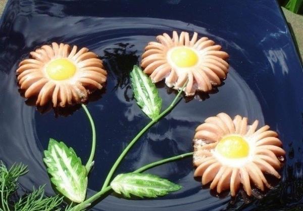 Как сделать из сосиски цветок фото 929