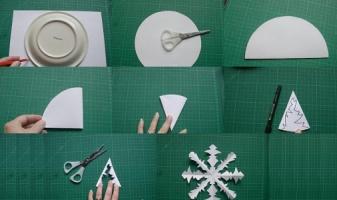 Как сделать круглую снежинку из салфеток