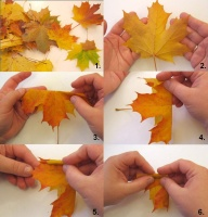 как сделать розу из кленовых листьев