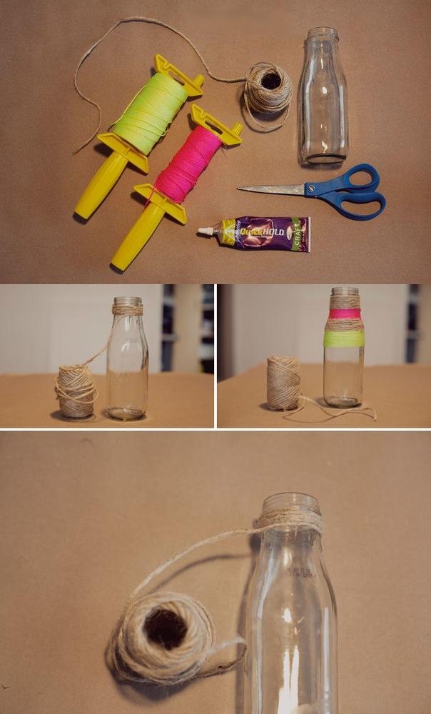 как сделать вазу из бутылки и веревок